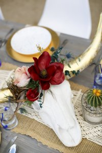 bull skull with floral head decoration