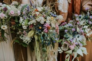 messy wildflower bouquet for a woodland wedding