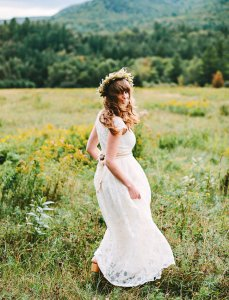 indie woodland bride