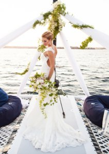 beautiful bride at her wedding on the Adventuress in San Diego